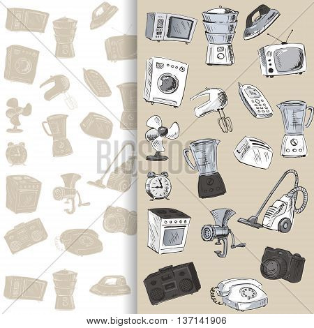 Sketches of household appliances can be used as backgrounds or other design. Vector illustration.