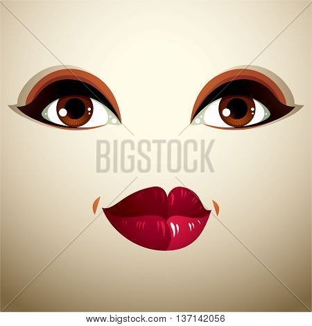 Facial expression of a young pretty woman. Coquette lady visage human eyes and lips.