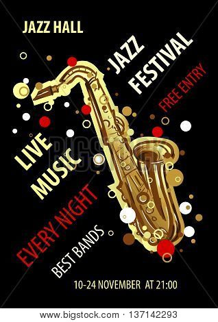 Retro styled Jazz festival Poster. Abstract style vector illustration. Jazz music festival, poster background template.