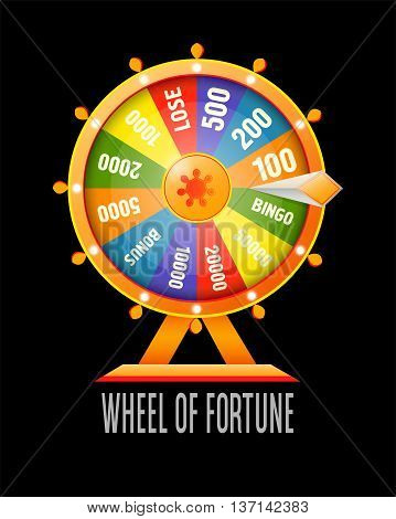 Wheel of fortune infographic design element. Flat style vector illustration isolated on white background.
