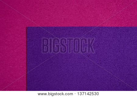 Eva foam ethylene vinyl acetate purple surface on pink sponge plush background