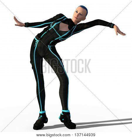 Beautiful girl in sci-fi outfit dancing expressive futuristic dance isolated. 3d illustration.