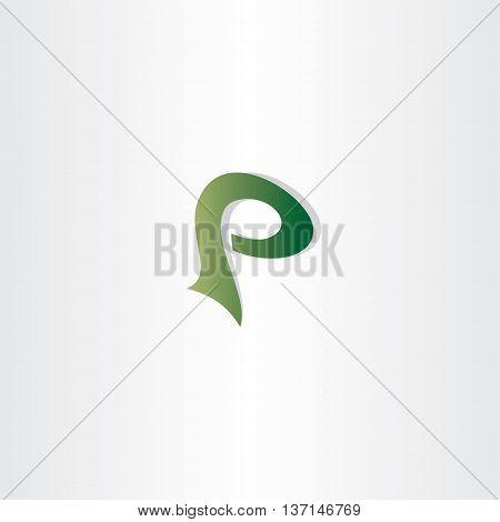 Logotype P Letter P Logo Icon Vector Green Symbol