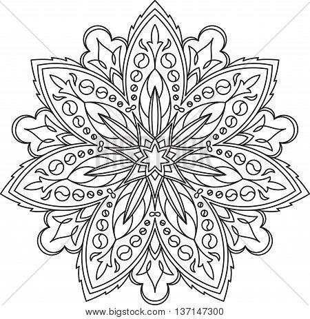 Abstract Vector Black Lace Design In Mono Line Style - Septangular Mandala, Ethnic Decorative Elemen