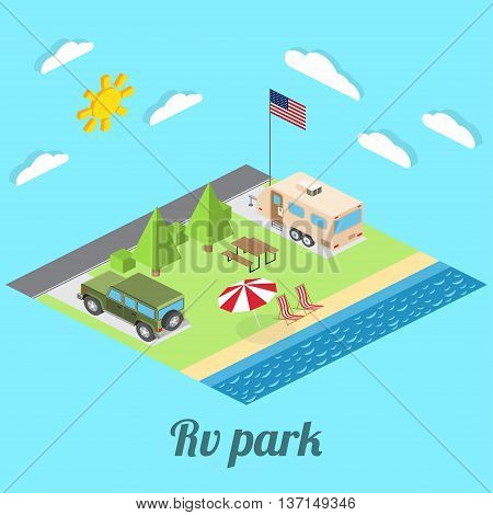 Isometric Summer Rv Camping On Cost Of Pacific Ocean. Isometric Vector Illustration Of Car And Trave