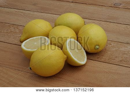 the cut lemon and others on the boards