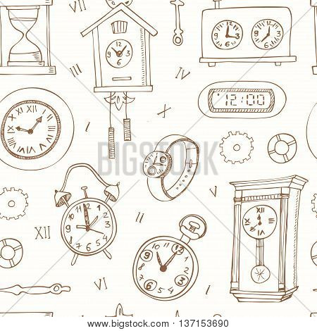 seamless pattern doodle sketch clocks and watches. Alarm clocks, sand glasses, stop-watch and other symbols of time isolated vector illustration