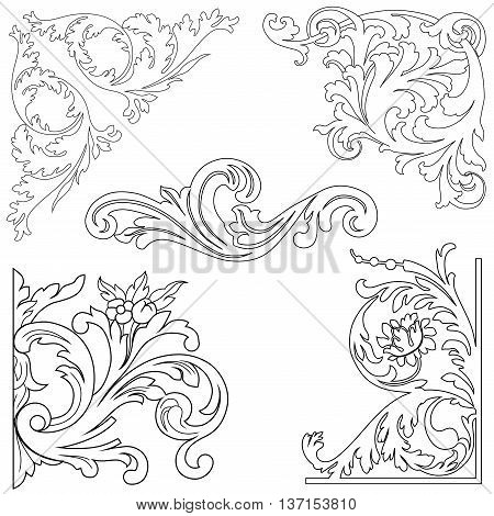 Set of vintage baroque corners, decorative elements. Set vintage, pattern vintage, ornament vintage, antique vintage, classic vintage, baroque vintage, scroll vintage.