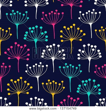 Inflorescence dill. Vector seamless pattern with flower inflorescence. Cute floral background. White yellow pink an green color dill on navy background.