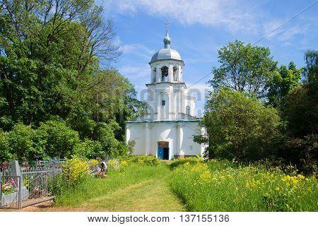 NOVGOROD REGION, RUSSIA - JUNE 02, 2016: View of assumption Church on a sunny june day. Religious landmark  of the Korosten, Novgorod region, Russia