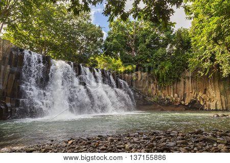 Rochester Falls waterfall in Souillac Mauritius panorama