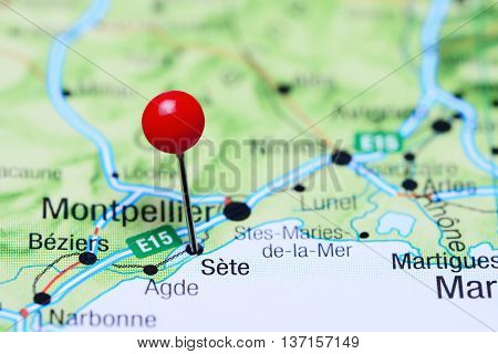 Sete pinned on a map of France