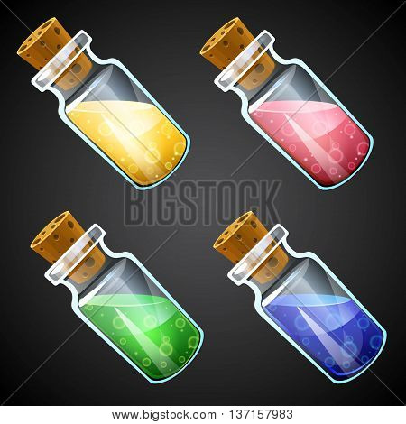 Set of vector cartoon potion bottles. Vial with colorful liquid.