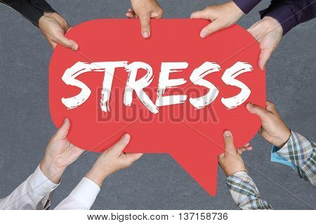 Group of people holding with hands the word stress stressed business concept burnout at work relaxed