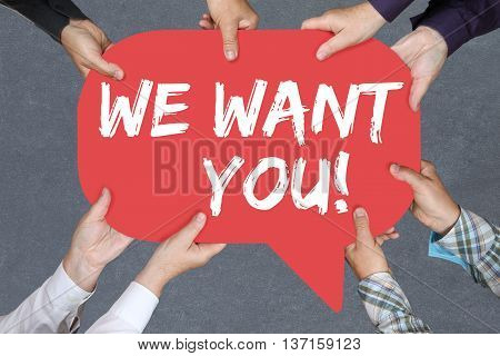 Group Of People Holding We Want You Jobs, Job Working Recruitment Employees Business Concept Career