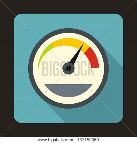 Speedometer custom icon in flat style with long shadow. Auto spare parts symbol