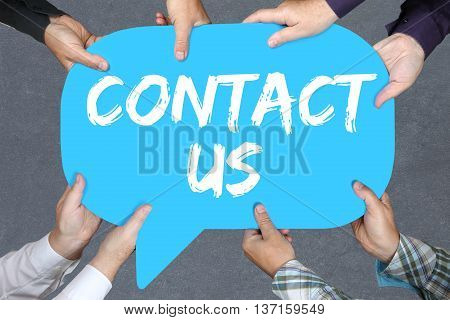 Group Of People Holding Contact Us Assistance Support Customer Service Help