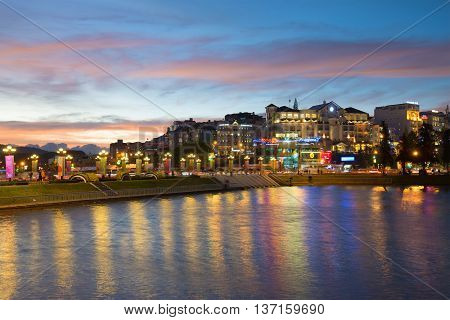 DA LAT, VIETNAM - DECEMBER 26, 2015: Twilight on the Da Lat waterfront. Tourist landmark of the city Da Lat , Vietnam