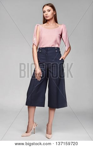 Portrait Of Fashion Stylish Swag Young Woman In Classic Dress