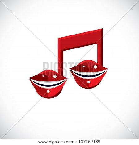 Vector art illustration of musical note created with human lips and mouth inside conceptual symbol. Modernistic graphic design element melody singing theme.