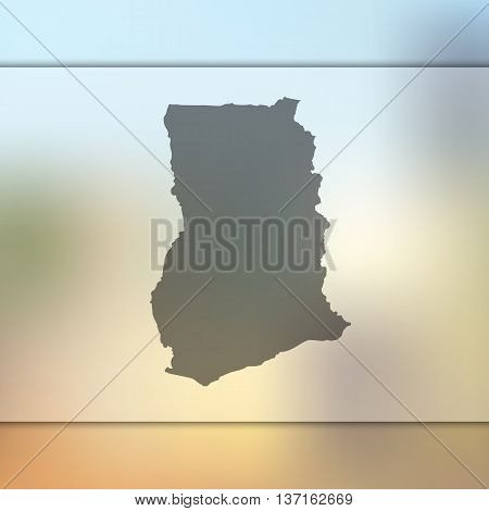 Ghana map on blurred background. Blurred background with silhouette of Ghana. Ghana.