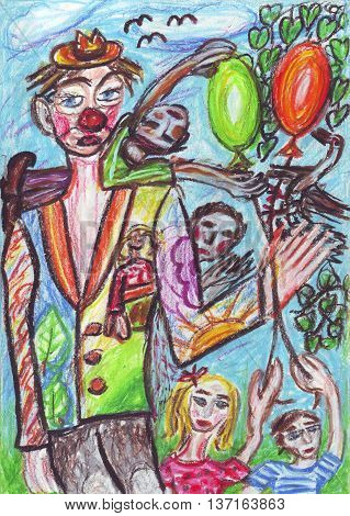 Clown and kids, oil pastel painting art