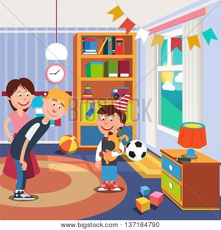 Parents Give Her Son a Dog for his Birthday. Boy with Dog. Vector illustration