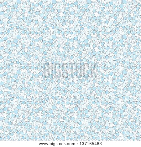 Seamless pattern of blue spots drops blots and pebbles on white background.