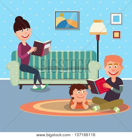 Father Reading Book to his Son. Mother Reading Book. Vector illustration