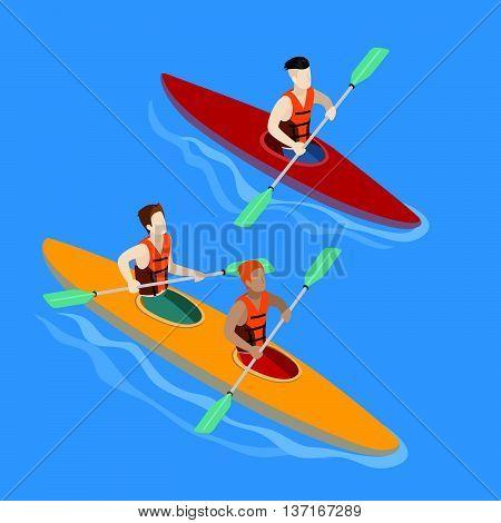 Couple Paddling in Kayak. Kayak Isolated Isometric vector