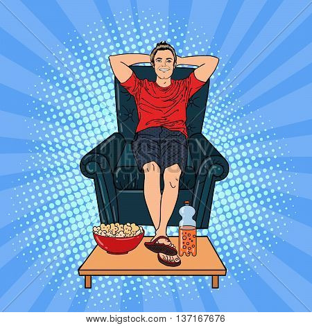 Happy Man Watching TV on the Chair with Popcorn and Soda. Pop Art. Vector illustration