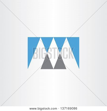 Gray Blue Vector Logo M Letter M Icon