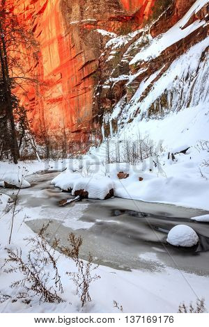 Ice and snow over Oak Creek on West Fork Trail near Sedona, Arizona