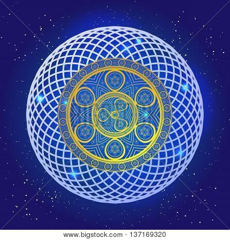Spiritual mystic sacral mandala in the deep blue space with stars. Golden spiral pattern in magic sky. Vector art design.
