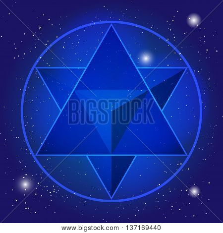 Sacral geometry design with tetrahedron on background of space and stars. Magic symbol,  mystical crystal.