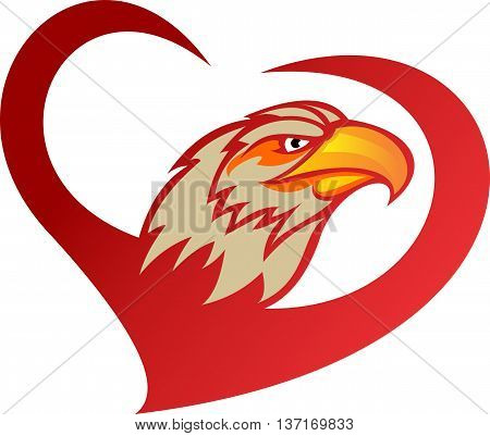 stock logo red heart of eagle bird