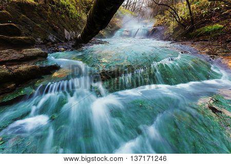 Oyunumagawa Hot Spring Flowing Water, Noboribetsu