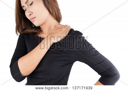 Woman with shoulder pain isolate on white background