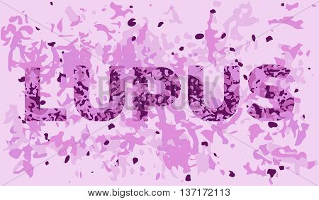 Lupus banner template with the appearance of the diseased tissue in the microscope. Vector illlustration of illness awareness and treatment