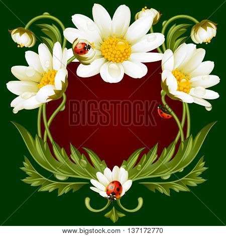 Vector frame with daisies and ladybug in the shape of floral beast face