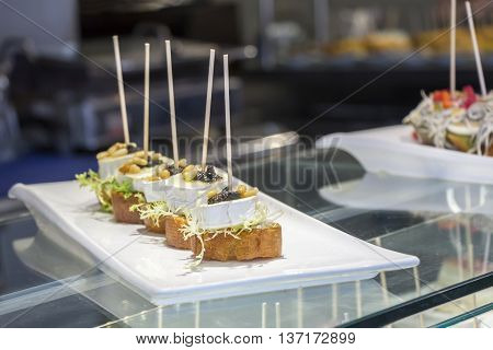 Pintxos or tapas famous spanish canapes party finger food