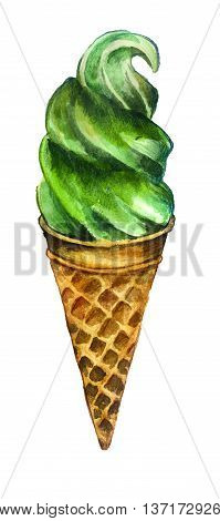 watercolor sketch: ice cream on a white background