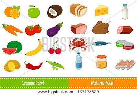 Set of icons with food and drinks for restaurant or commercial. Fruits and Vegetables icons. Food and Drinks icons. Vector illustration