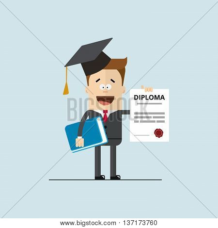 happy businessman or student with a diploma of completion education. Vector image high quality in flat style.