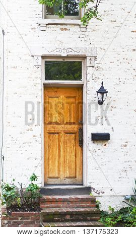 Antique Front Door and Flower Bed in Columbus Ohio German Village