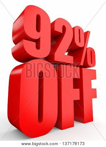 Discount 92 Percent Off. 3D Illustration On White Background.