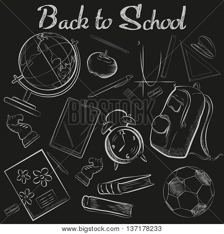Vector Hand Drawn School chalk sketch chalkboard doodle collection. Back to school