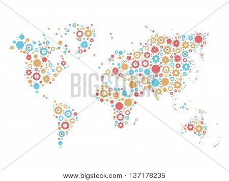 World map mosaic of cog wheels in three colors on white background. Industrial theme. Vector illustration.