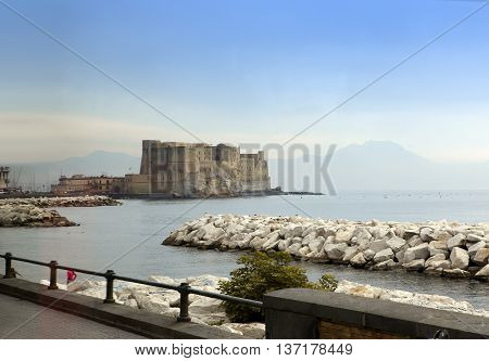 Castel dell'Ovo (Egg Castle) Italy. Naples in a sunny day