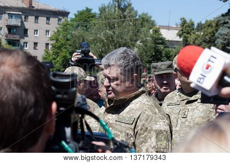 President Of Ukraine Petro Poroshenko Talks With People